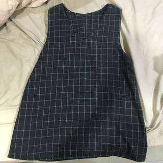 格子 格紋 背心洋裝 背心裙