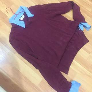 Sweater with collar jeans