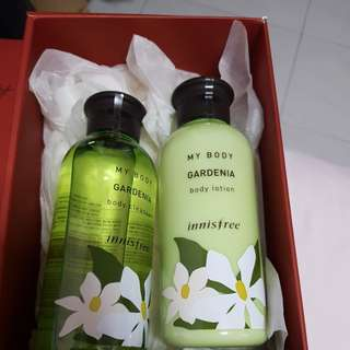 Innisfree gardenia body wash and lotion