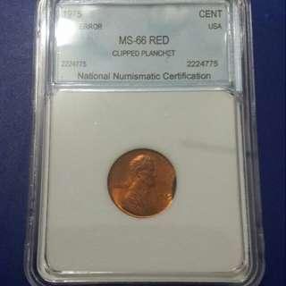 ,美國1975年林肯錯體銅幣1仙,有評分