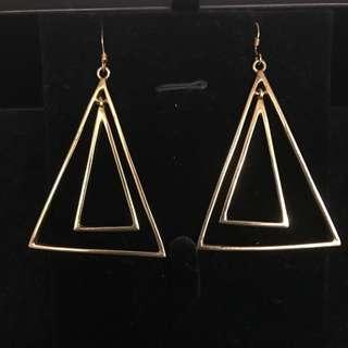 Gold Double Triangle Earrings