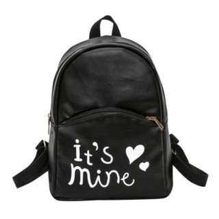 Women PU Leather Mini Backpack (Black)
