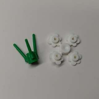 全新Lego parts 散件 零件 植物 花 白色