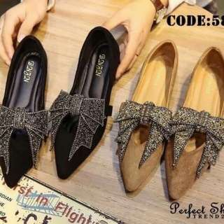Bow glitter court shoes