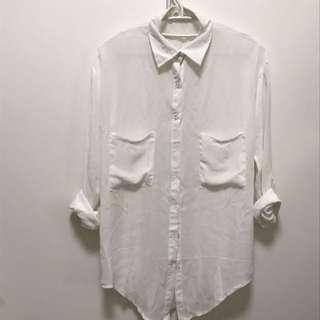 白色棉紡襯衫