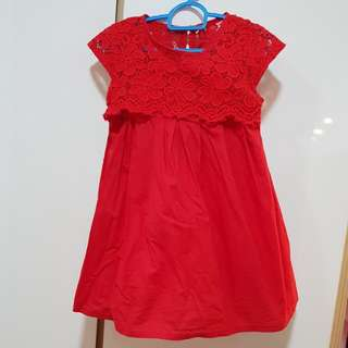 Red dress with lace design