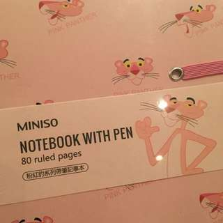 Pink panther notebook with pen
