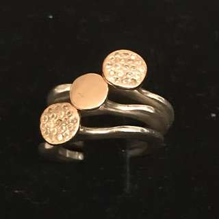 Diamond and gold plated gold and silver set of three rings