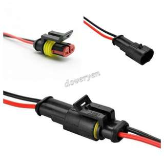 2 Pin Harness Connector + Wire  Suitable For Motorcycle Car Van  ★Male / Female Connector   ★2 Pin Sealed Waterproof     Connector With Wire   ★Support Led Hid Halogen     Connection   ★Waterproof / Air Tight  In Stock