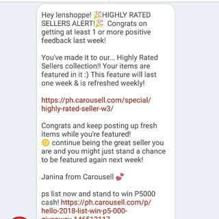 Thank you Again Carousell! 4th time to rated as highly rated seller 😀