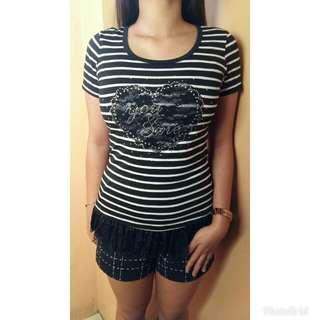 Black Ruffled Striped Shirt