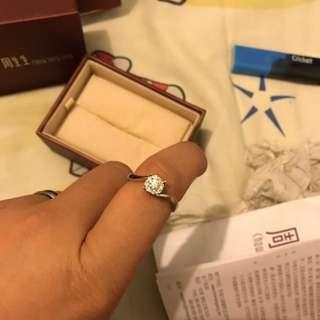 周生生18k/750白色黃金鑽石戒指($4000)即賣