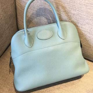 Hermes Bolide 31 in Blue Atoll, Clemence leather, T stamp, 95% new