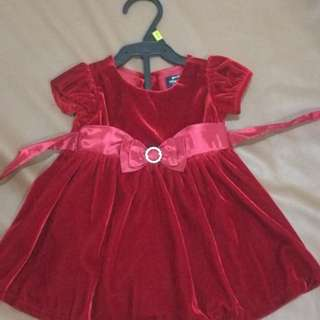 Red velvet dress - 9mos
