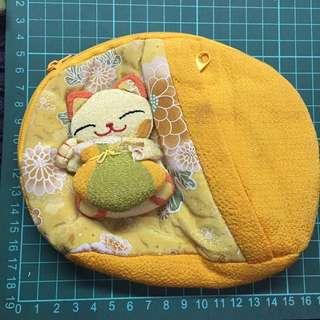 🚚 黃色 貓咪 包包 化妝包