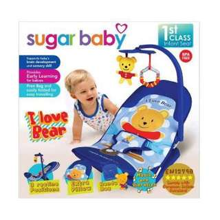 Infant Seat Sugar Baby Bouncer I Love Bear Blue