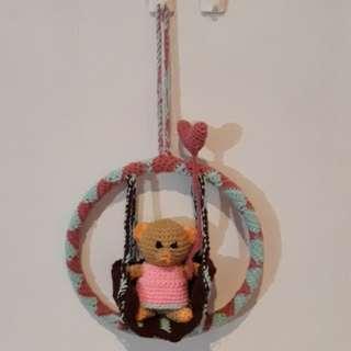 Peppermint Teddy on a Swing
