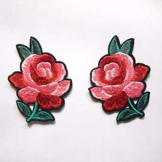 Flower Rose Pair Iron On Patch