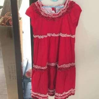 CHATEAU DE SABLE Red Lace Dress