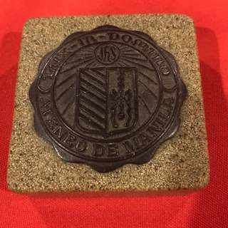 Paperweight made of Pinatubo Lahar by prisoners, with Ateneo seal