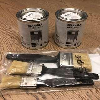 Ikea 全新油漆套裝👨🏻🎨 2罐 Behandla 灰色漆油 375ml + 大中小油掃各一支