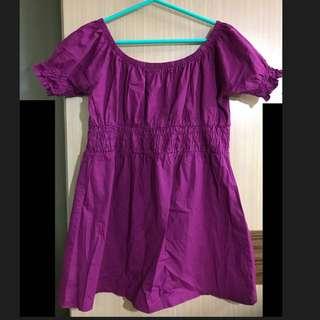 紫色 紫紅色 韓國製 娃娃裝 傘狀上衣 長版上衣 短袖 圓領 束胸 孕婦裝 顯瘦 大尺碼