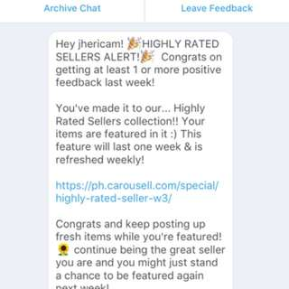 Yayyyy!! HIGHLY RATED SELLER! Thank you, Carousell. ❤️😌