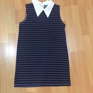 Navy Blue Strips T shirt Dress