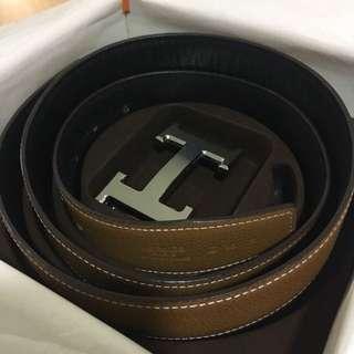 Hermes Khaki Leather Belt