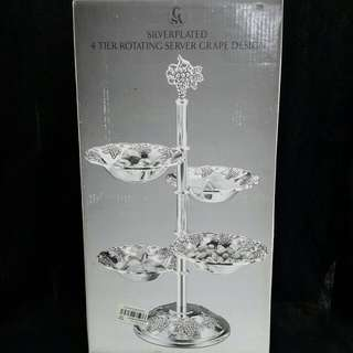 Silverplated 4 Tiet Rotating Server Grape Design *New