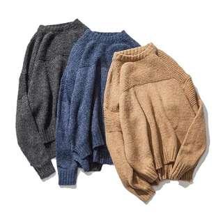 🇯🇵日系新款簡約純色粗針圓領毛衣