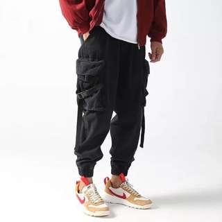 🇯🇵日系新款寬鬆大口袋工裝哈倫褲