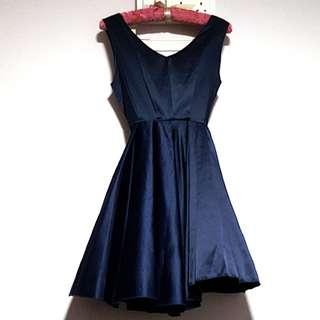Beautiful Satin Navy Blue Pleated Dress