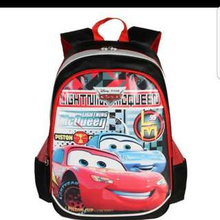 In stock Disney Mcqueen Cars design school bag haversack backpack for primary 1 to 3 Size is 31 ×  17 × 42cm