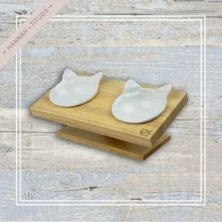 架高原木陶瓷寵物碗