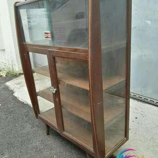 vintage teak wood display cabinet