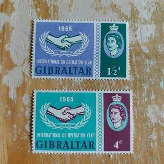英屬直布羅陀1965年國際合作年纪念郵票新票