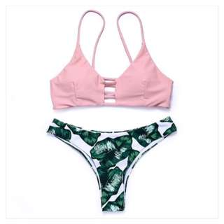 Riri Tropical Design Two Piece Swimsuit Pink
