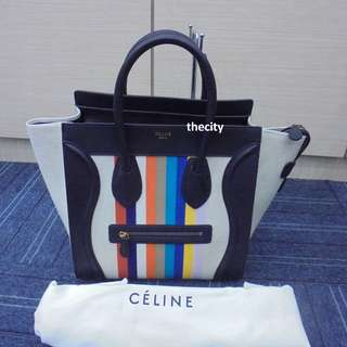 BRAND NEW - AUTHENTIC CELINE LARGE MULTICOLOR LUGGAGE IN LEATHER & CANVAS