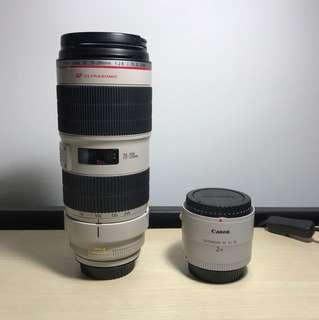 Canon Zoom Lens EF70-200mm F2.8 L IS II USM + Canon Lens Extender EF 2x III