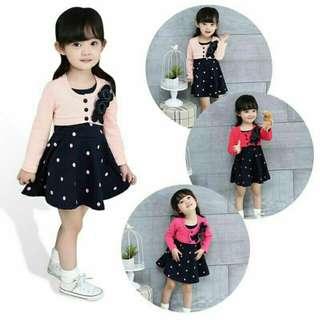 Baby girl cotton dot pattern princess wedding tutu dress