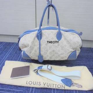 AUTHENTIC LOUIS VUITTON LIMITED EDITION DENIM BOWLER BAG WITH LONG SLING STRAP