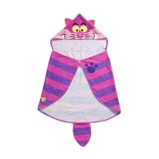 東京迪士尼限定Disney 愛麗絲夢遊仙境 柴郡貓 妙妙貓 兒童毛巾披風 斗篷 浴巾 現貨
