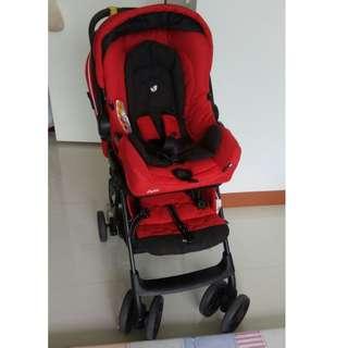 Preloved/Joie/3 in 1 stroller/detachable/carseat/stroller/pram/carrycot