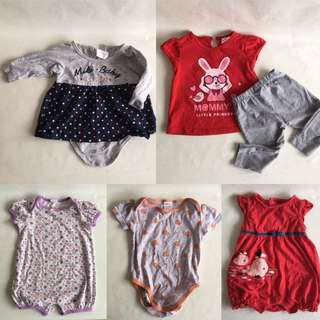 Preloved baby girl clothing 0-6mo (5pcs)