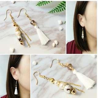 💫珍珠串流蘇鴛鴦耳環🌟