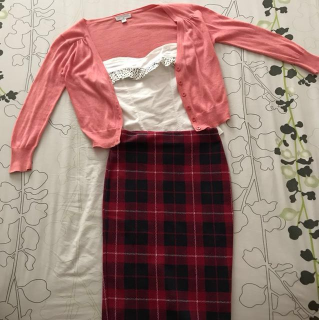 488be7f1106bf 2 piece Polka Dot white tube   Zara checkers Winter Collection Skirt ...