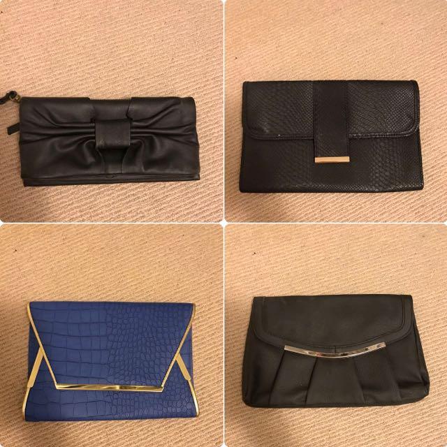 4 clutches (3x Black, 1x Blue)