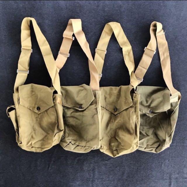 🌴70s蘇聯公發防毒面具包袋 側背小包 俄羅斯古董老品 棉麻料 男女皆可Vintage 古著