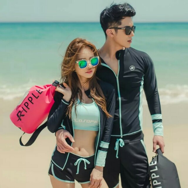 現貨韓版休閒男女水母衣泳衣套裝